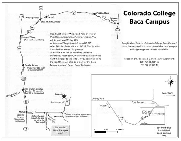 Colorado College Baca Driving Map